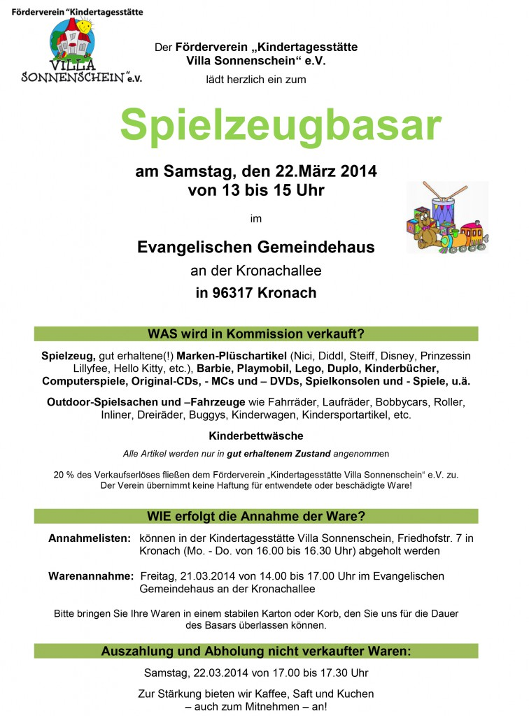 """Der """"Förderverein Evangelischer Kindergarten Sonnenschein e"""
